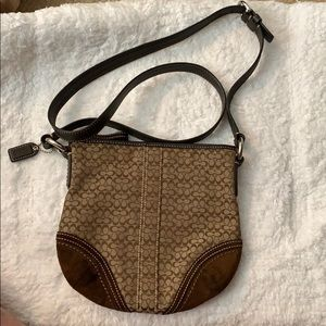 Coach signature cross body with suede accents